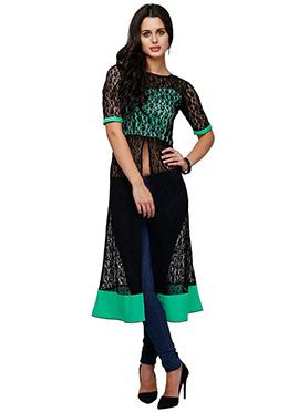 Ojjasvi Black N Turquoise Net Tunic
