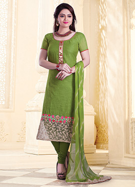 Olive Green Chanderi Churidar Suit