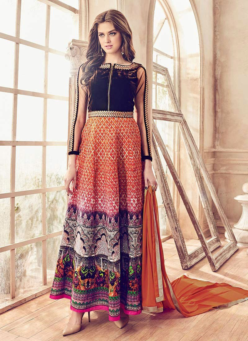 0dca9e9b59 Buy Orange Ankle Length Anarkali Suit, Printed , Embroidered ...