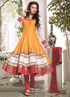 Orange Art Silk Cotton Anarkali Suit