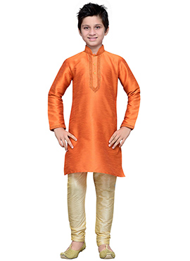 Orange Art Silk Teens Kurta Pyjama