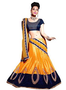 Mustard Yellow Bhagalpuri Silk Lehenga Choli