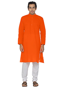 Orange Blended Cotton Kurta Pyjama