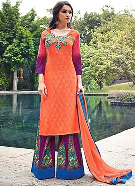 Orange Cotton N Jacquard Palazzo Suit