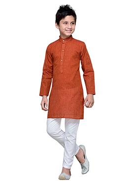Orange Cotton Striped Teens Kurta Pyjama