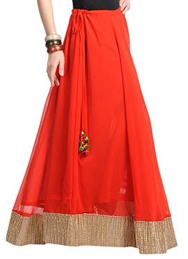 Orange Georgette Gota Skirt