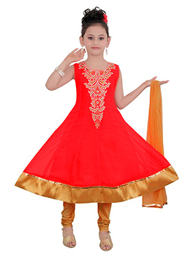 Coral Red Georgette Teens Anarkali Suit