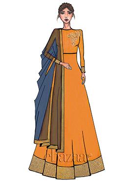 Orange High Neck Embroidered Anarkali Suit