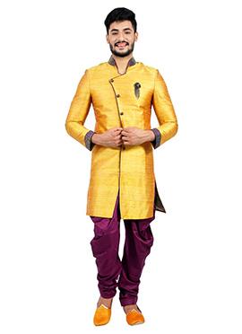 Orange Indowestern Sherwani