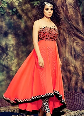 Orange Kangana Ranaut Pure Georgette Anarkali