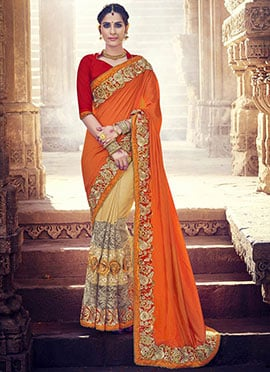 Orange N Beige Half N Half Saree