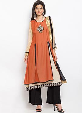 Orange N Beige Layered Palazzo Suit