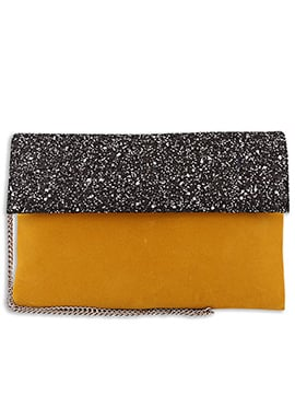Orange N Black Faux Leather Clutch