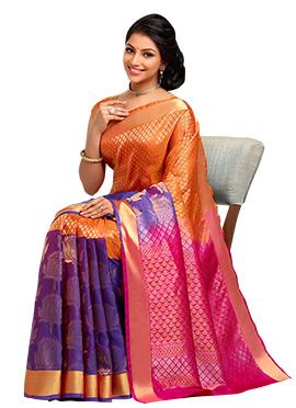 Orange N Blue Pure Silk Handloom Saree