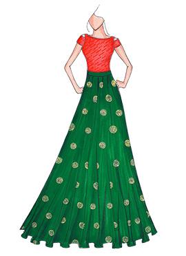 Orange N Bottle Green Highwaisted Skirt N Crop Top