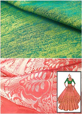 Orange N Green Umbrella Lehenga Choli