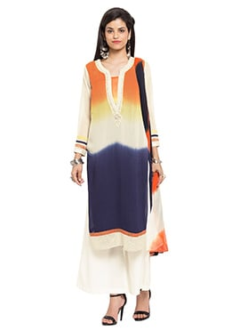 Orange N Navy Blue Georgette Palazzo Suit