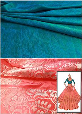 Orange N Turquoise Umbrella Long Choli