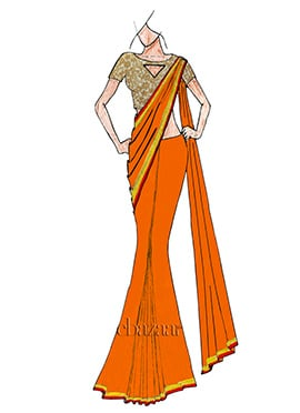 Orange Saree With Embroidered Blouse
