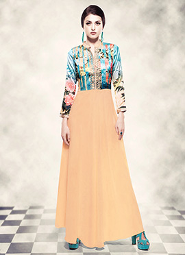 Pale Orange N Blue Digital Printed Anarkali Gown
