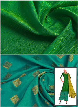 Parrot Green N Turquoise Long Kurta Palazzo Suit