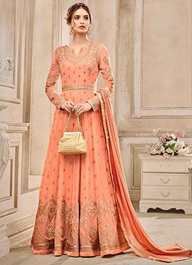 Peach Georgette Abaya Style Anarkali Suit