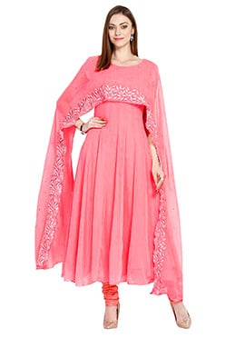 8664c1993 Peach Georgette Anarkali Suit