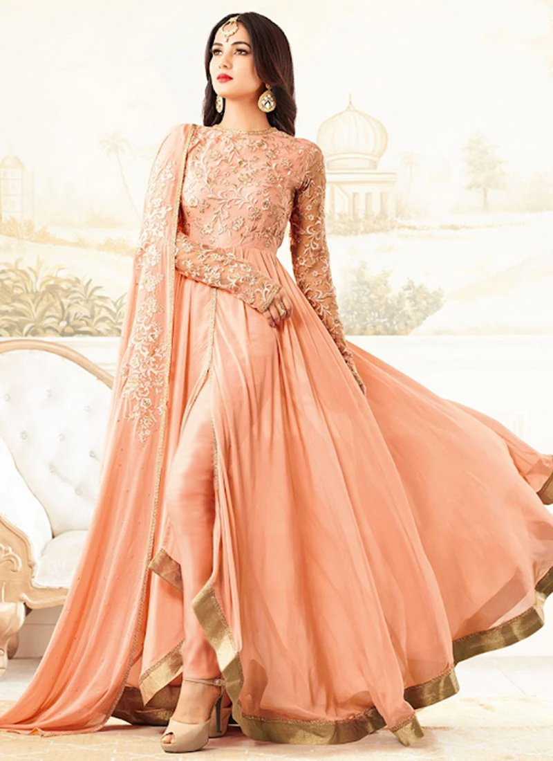 a0e325996a Buy Peach Georgette Anarkali Suit, Embroidered, anarkali suit Online ...