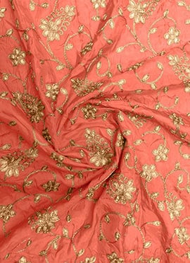 Peach Gota Patti Fabric