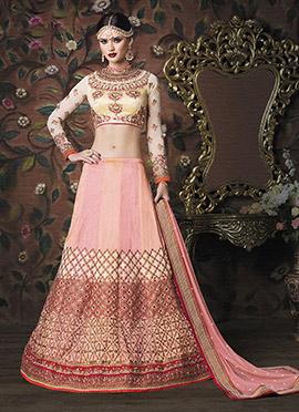 Peach N Pink Art Silk A Line Lehenga Choli
