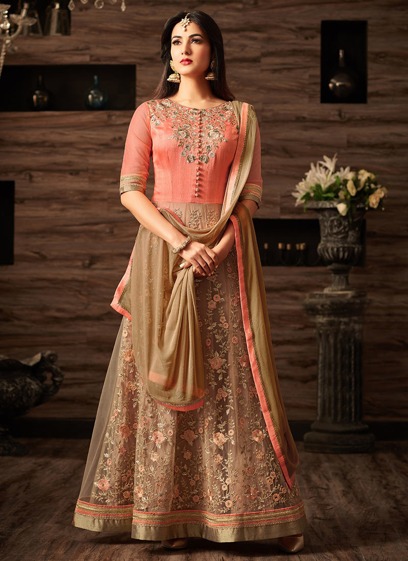 Buy Peach Net Abaya Style Anarkali Suit Embroidered