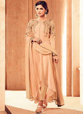Peach Satin Georgette Straight Pant Suit