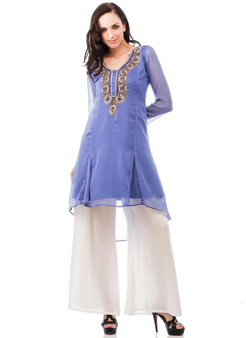 c500dfa9f5449 Buy Periwinkle Blue Plus Size Kurti