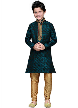 Persian Blue Brocade Hand Work Teens Kurta Pyjama