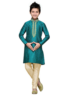 Persian Green Art Silk Teens Kurta Pyjama
