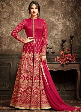 Pink Abaya Style Anarkali Suit