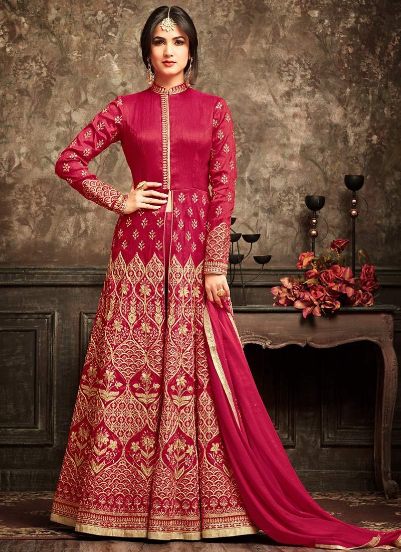 Buy Red Abaya Style Anarkali Suit Embroidered Anarkali