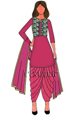 Pink Art Dupion Silk Patiala Suit
