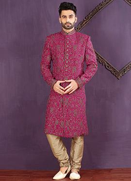 Pink Art Silk Achkan Sherwani