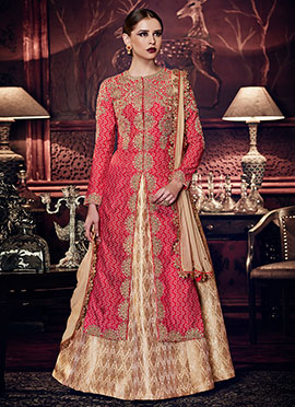 Red Art Silk Long Choli A Line Lehenga