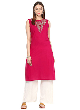 Pink Blended Cotton Palazzo Suit