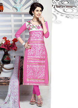 Pink Cambric Cotton Straight Suit