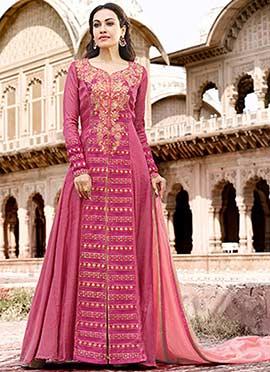 Pink Embroidered Anarkali Suit