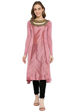 Pink Embroidered Long Kurti