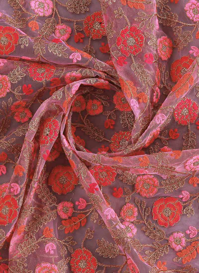 Buy Pink Embroidered Net Fabric Embroidered Blended