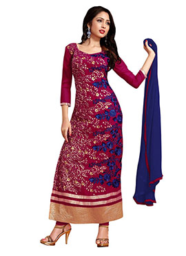 Magenta Georgette Embroidered Straight Suit