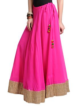 Pink Georgette Gota Skirt