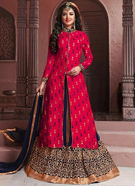 Pink Georgette Long Choli A Line Lehenga