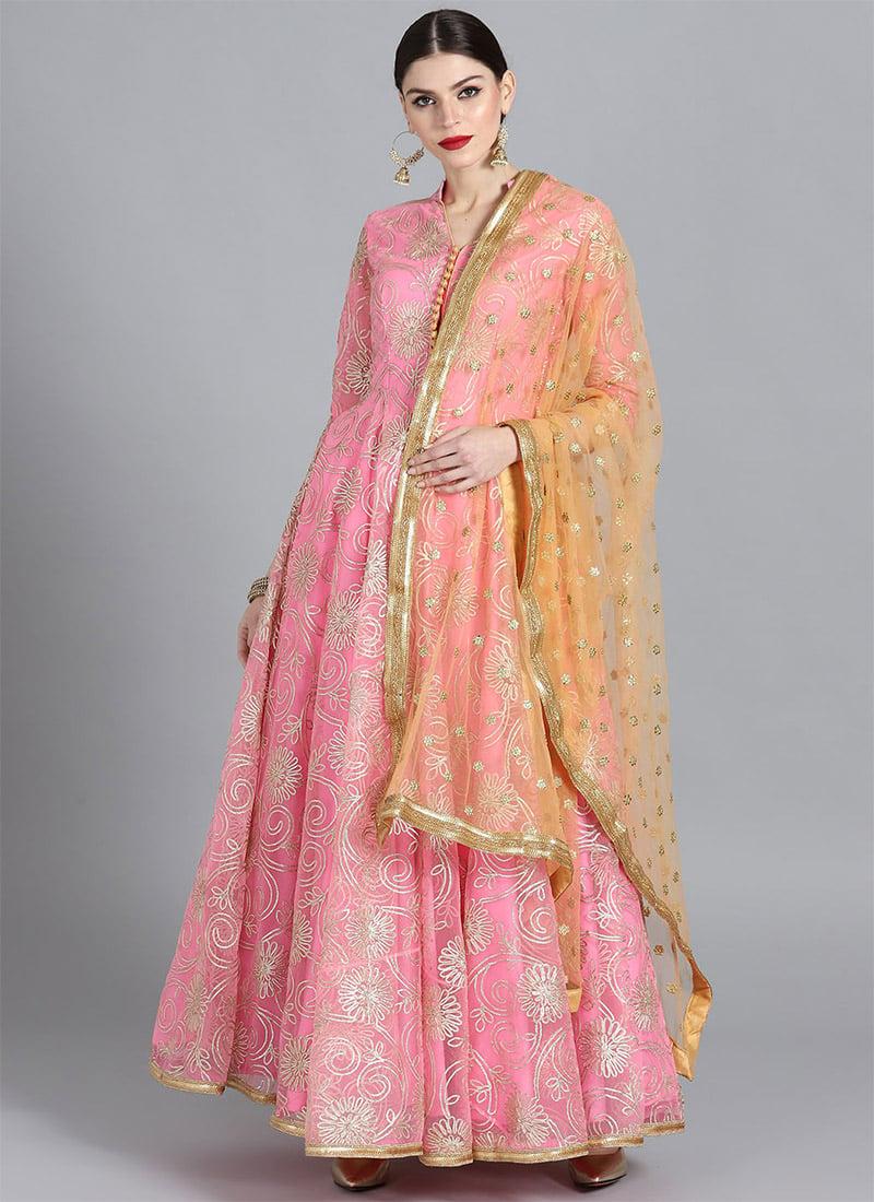 8747090dce Buy Pink Gota Patti Net Abaya Style Anarkali Suit, Sequins , Gota ...