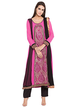 Pink N Black Embroidered Straight Pant Suit